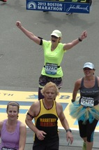 Rockenbaugh Elementary administrator Janet Blackwell crossed the finish line at this year