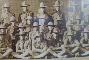 Photograph from Alamo Doughboy Pvt Knott is standing far left May 1918 Camp Travis Texas  Jennifer Rude Klett