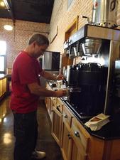 Anatole Larroque making cappucinos