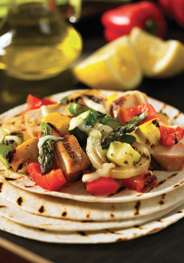 Grilled Chicken and Roasted Veggie Tacos