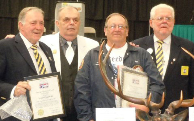 Pictured left to right are Exalted Ruler George Coyne of Toms River Lodge 1875 who accepted the Female Veteran Volunteer of the Year Award for Sue Gajewskiis the Co-Chairperson of the Toms River Elks NVSC Past  State President Jim Hall Jim Sharpe Tyler and  Chairman of the Bordentown Lodge 2085 Veterans  Committee who was awarded  the Male Veteran Volunteer of the year  award and Ted Lette our NJ  Veterans State Chairman
