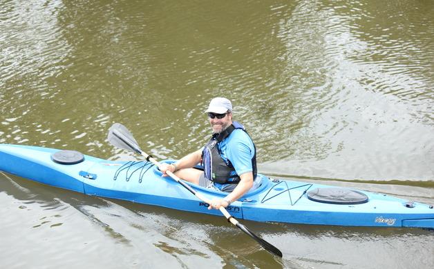 Bryan Mitchell paddles towards Trenton on the Crosswicks Creek tidal river trail