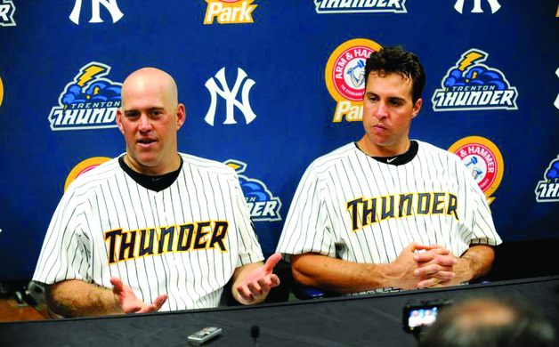 New York Yankees infielder Kevin Youkilis and first baseman Mark Teixeira take questions during a Trenton Thunder press conference