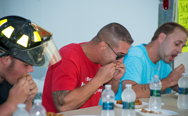 John Kaney competes in the wing eating contest
