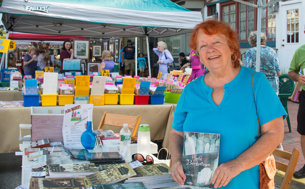 Arlene S Bice displays the numerous books shes written about the Bordentown area