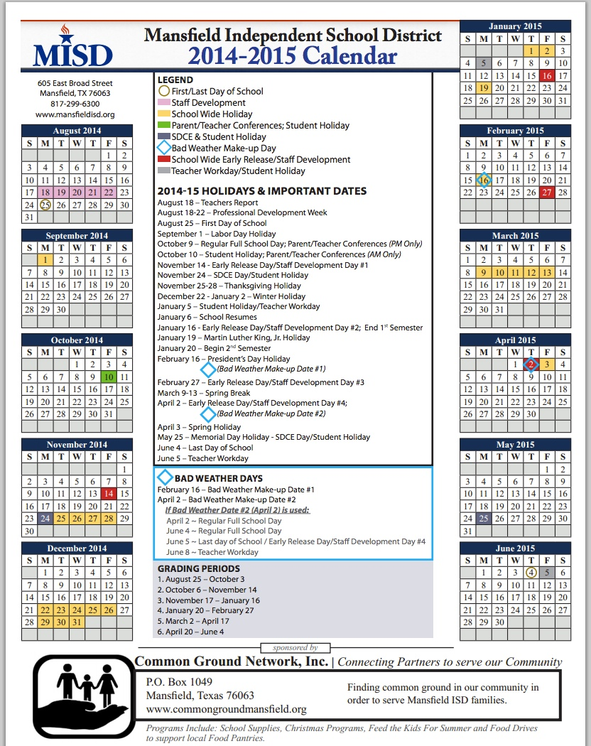 Get Mansfield Isd S Calendar For The 2014 2015 School Year