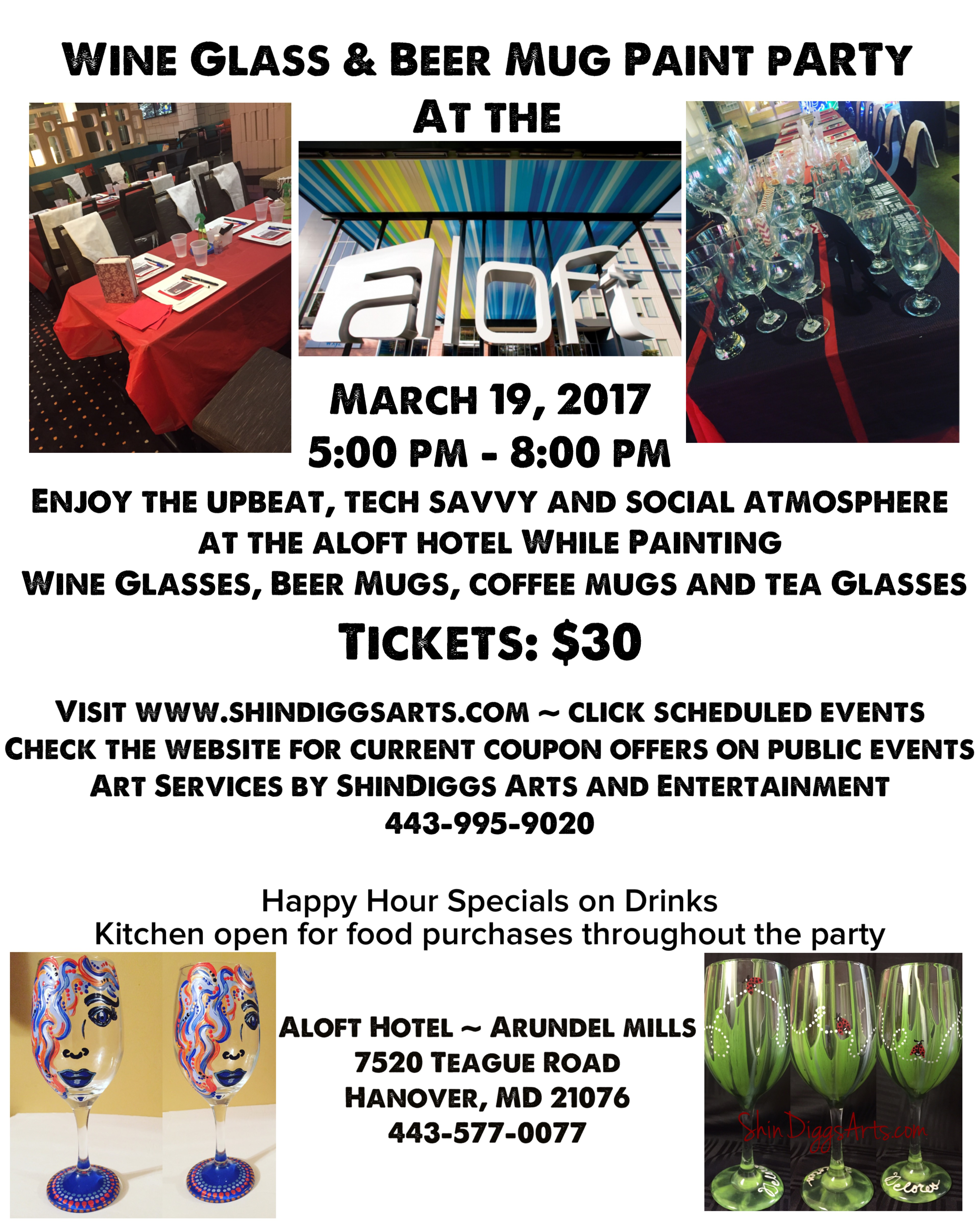 shindiggs arts wine and beer glass paint party