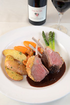 Des Jardin suggests complementing your reds with a lamb dish like the Rack of Lamb Provencal available at La Provence Restaurant  Terrace