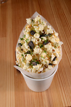 Moffat discovered that fresh popcorn with melted black truffle butter pairs surprising well with California Chardonnay.