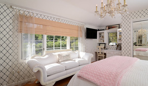 Turn a bedroom from drab to fab with a simple addition of graphic wallpaper