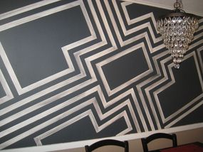 This modern geometric design becomes the dining rooms focal point