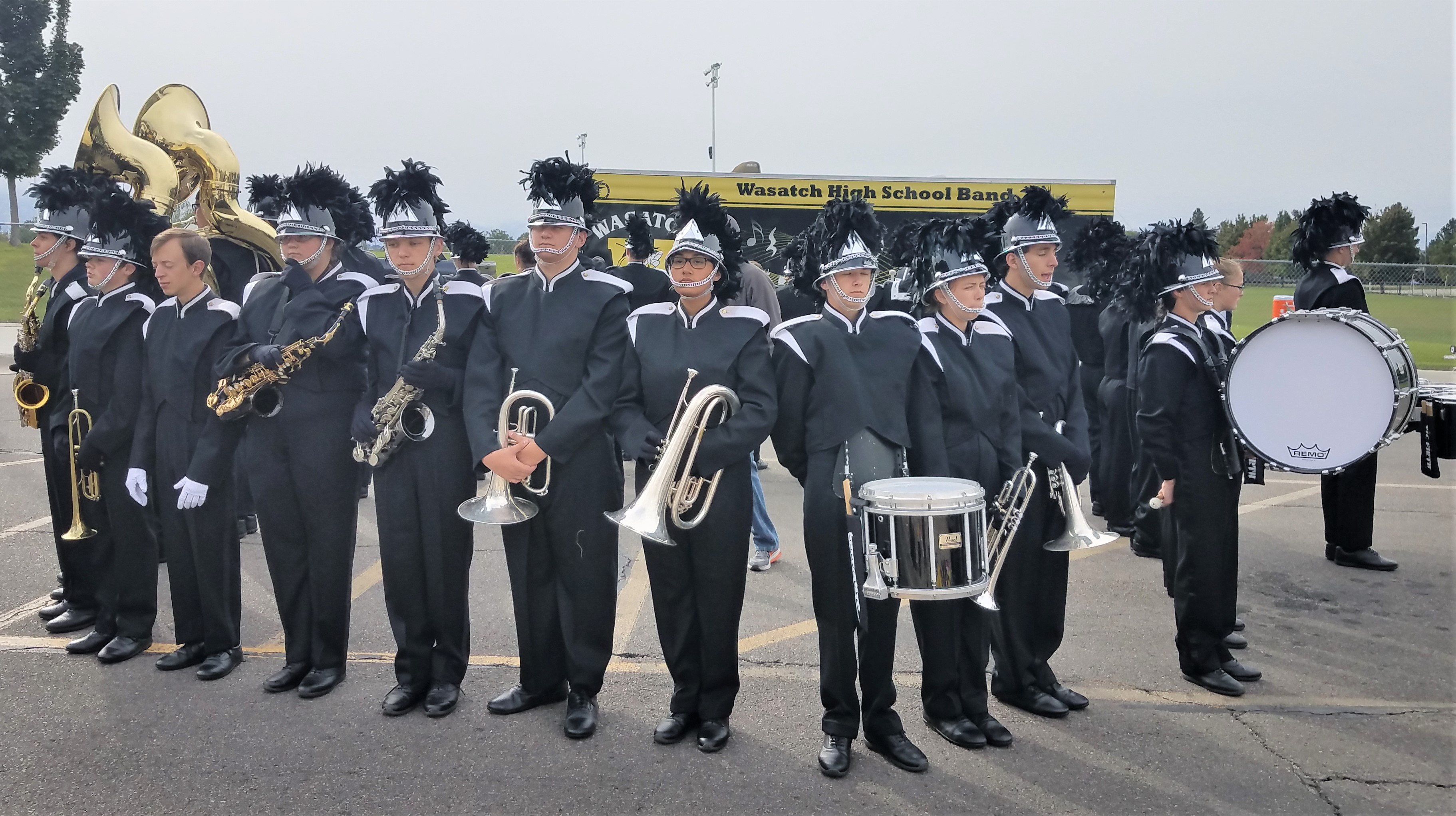 Murray High School's marching band completes football game