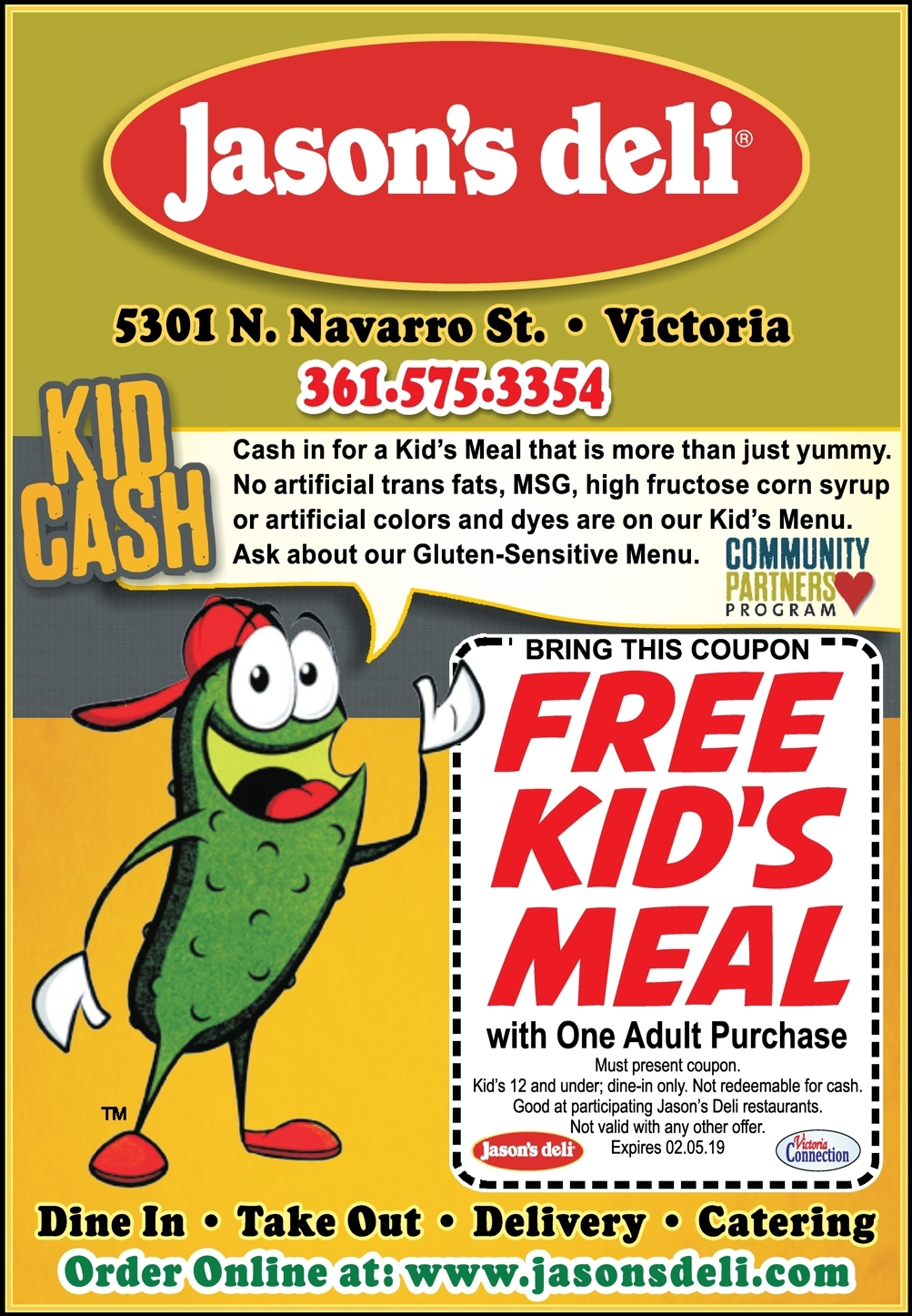 Kids Eat For Free At Jason S Deli In Victoria With This Coupon