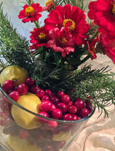 Cranberry and Lemon Floral Centerpiece