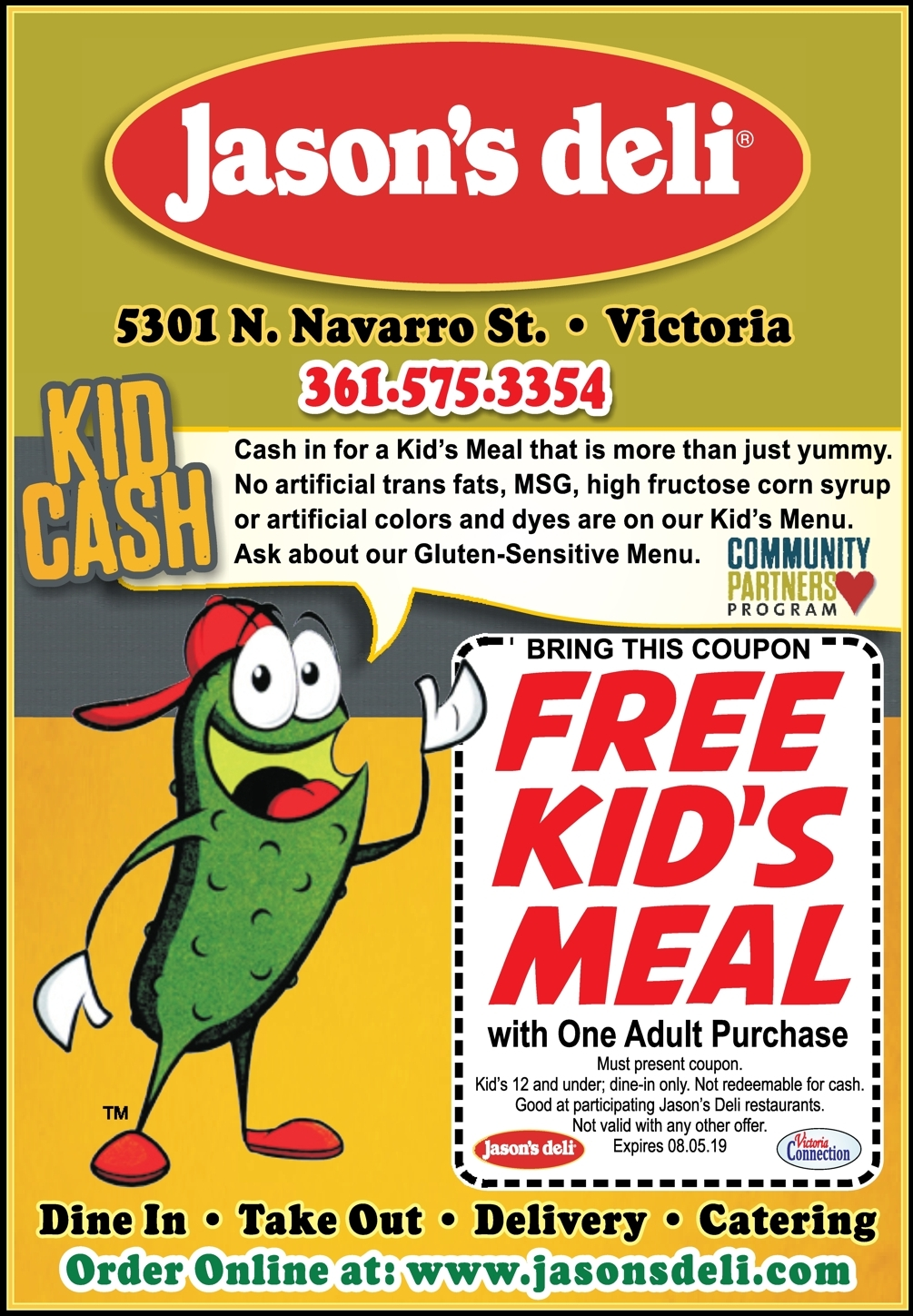 photograph about Jason's Deli Printable Menu named Young children Try to eat for Free of charge at Jasons Deli in just Victoria With This